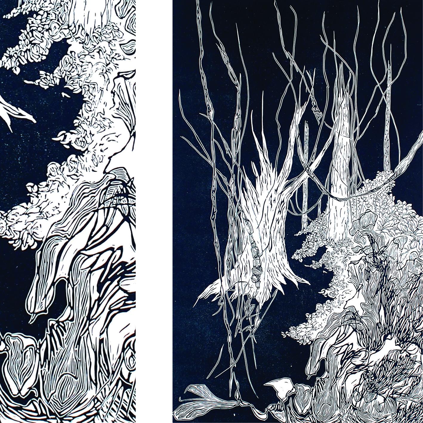 2 vues d'une linogravure bleue, composition libre à partir de croquis botaniquesréalisés aux grandes serres du jardin des plantes