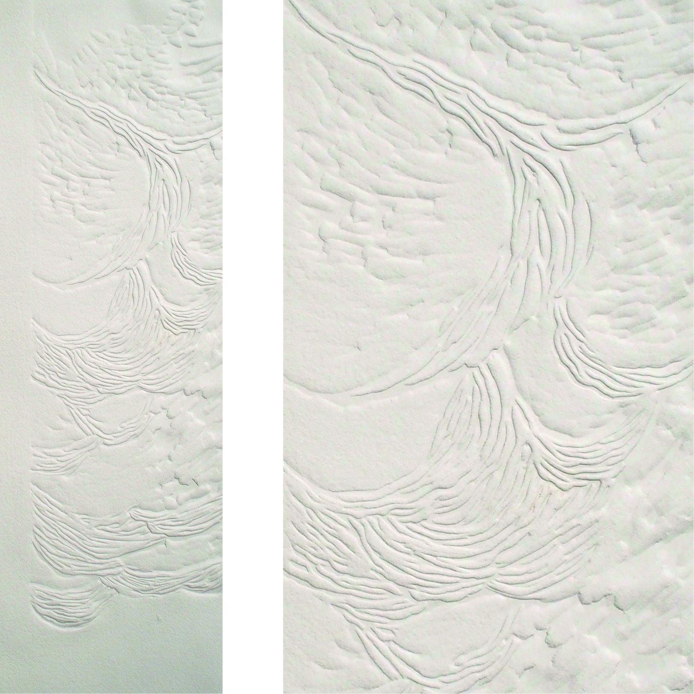 2 vues d'un petit kakémono blanc motif vagues, en gaufrage linogravure